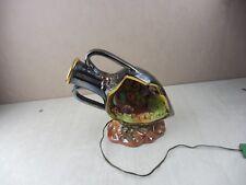 Ancienne lampe / veilleuse amphore, en céramique, décor poisson, Cerdazur Monaco