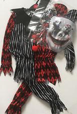 Child's Boy/Girl Halloween Scary Creepy Clown Jester Costume Age 7-8 Years BNWT
