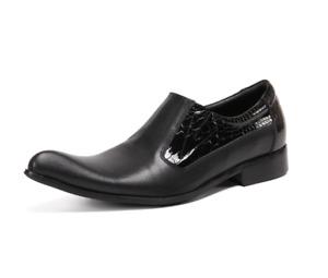 Men's Fashion Pointy Toe Grain Black Leather Shoes Business Party Dress Shoes WZ