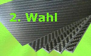 0,8 mm - 6 mm  x  350 mm x 150 mm  REINE CFK Carbon Kohlefaser Platte 2. Wahl