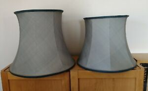 Vintage Matching Pair Large Blue Silk Lamp/ Light Shades. Lined. 2 Sizes