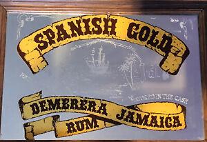 Pub Mirror Spanish Gold Demerera Jamaica Rum Bar Man Cave Collectable