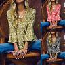 ZANZEA 8-24 Women Summer Bell Sleeve Top Tee Shirt V Neck Printed Floral Blouse