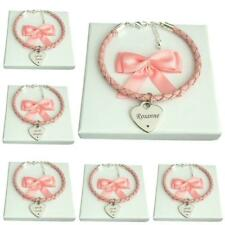 Bracelet with Engraving for a Woman or Girl, Pink Leather, Engraved for Mum etc