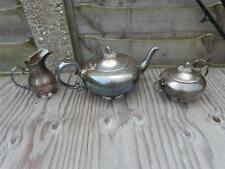 Antique style Quality Silver Plated Teapot Milk Jug & Sugar Bowl. M S Triangle