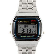 Armbanduhr Edelstahl Oldschool Stoppuhr Watches Herren Uhr Digital Silber