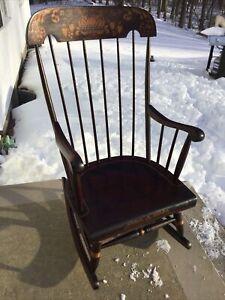 Nichols & Stone Rocking Chair Red Stain Gold Stencil Vintage
