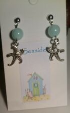 """New """"Seaside"""" Starfish and Natural Jade Bead Stud Earrings Silver Plated"""