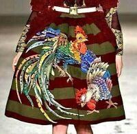New $2685 Stella Jean Veruska Embellished Rooster Runway Dress Skirt 2 4 / IT 40