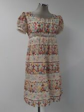 Dress vintage handmade sheer fabric with colourful embroidered patterns UK10