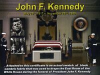 Genuine Piece of Black Fabric Used During the Funeral of John F. Kennedy