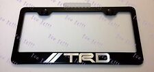 Toyota TRD Stainless Steel Black License Plate Frame Rust Free W/ Caps