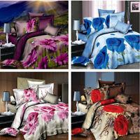 Flower Floral Duvet Cover Set 3D Printed Bedding Pillow Case Sheet Double GQ