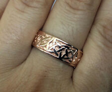 R280-Genuine SOLID 9K 9ct Rose Gold HEAVY WIDE Celtic BAND Ring Wedding size W