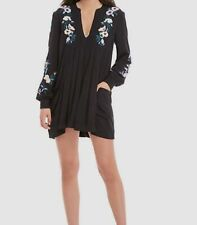 Nwt $189 Free People Women's Black Embroidered Mini Dress Size S