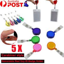 5X Retractable ID Clip PVC Card Holder Reel Recoil Pull Chain Swipe Key Belt AU