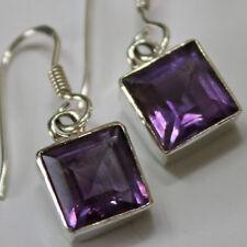 Amethyst Ohrringe Echt Silber 925 Ohrhänge Quadrat Cutstone Eckig Modern Lila h