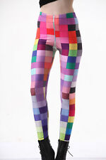 Sexy Casual Galaxy Colorful Plaids Print Leggings Sport Yoga Pants Fitness Dress