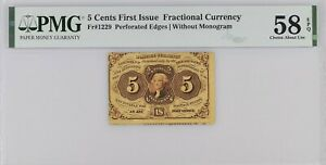 FR 1229 - 5 CENTS FIRST ISSUE POSTAGE CURRENCY - PMG 58 EPQ CHOICE ABOUT UNC
