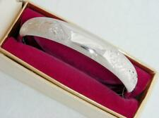 NEAR MINT C1960 VINTAGE RETRO STERLING SILVER BANGLE BRACELET IN ORIGINAL BOX