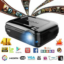 7000Lumen 4K 3D Full HD 1080P LED Projector Theater AV/TV/USB/HDMI Black fk