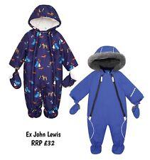 Baby Boys Snowsuit Winter Coat Warm Hooded Fleece Lined RRP £32 NEW NB - 24M