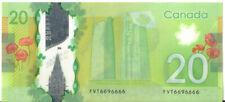 Bank of Canada 2012 $20 Twenty Dollars One Digit from Being Solid Radar 6696666