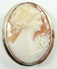 Cameo Pendant Pin Brooch Right Facing Antique 10K Yellow Gold Carnelian Shell