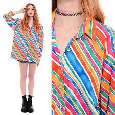 Vintage 90s Striped RAINBOW Oversized Shirt Blouse Top Club-Kid Rave Soft Grunge