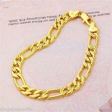 18K Yellow Gold Filled Figaro Chain Bracelet (B-254)