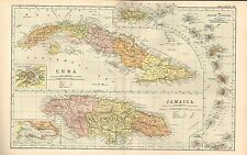 1911 Victorian Map ~ Cuba & Jamaica ~ Inset Havana Kingston Lesser Antilles