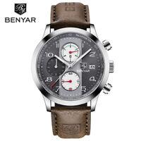 BENYAR Leather Band Men Military Japan Quartz Wrist Watch 30m Waterproof Sport
