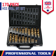 170-Pieces HSS Drill Bit Set Metric 1.5-10mm Titanium Coated Metal Wood Plastic