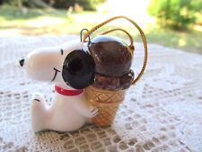 SNOOPY ORNAMENT CERAMIC JAPAN PEANUTS UFS 1958,1966 CHOCOLATE ICE CREAM CONE