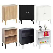 2 Tier Wooden Storage Bookcase Scandinavian Style Legs Living Room Bedroom Shelf