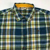 Old Navy Button Up Shirt Mens 2XL XXL Yellow Green Blue Short Sleeve Plaids