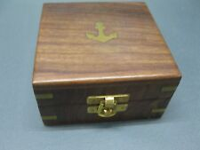 Edelholz Schatulle Kästchen mit Messingeinlage Anker  Holzbox 10 cm Spardose