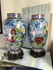 Cloisonne pair baluster Vases NM Chinese swans floral motifs on blue 10""