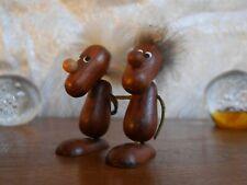 Teak Holz Fell Figur Hans Bølling VINTAGE 60er Mid Century figurines pair 60s