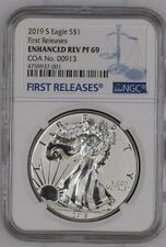 2019-S Enhanced Reverse Proof Silver Eagle NGC PF69 COA#913! UNOPENED FROM NGC.