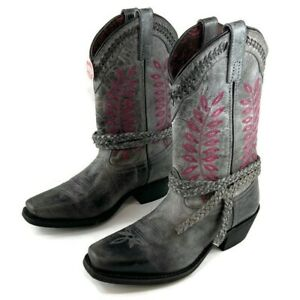 Laredo Women's Fern Grey Leather Square Toe Boots Western Cowgirl Shoes 51148