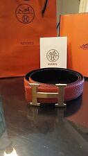 95cm Mens Leather Hermes Belt Orange/Black With hermes buckle