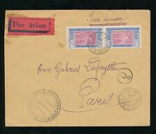 FRENCH IVORY COAST 1939 ODIENNE AIRMAIL...COMMISSION D CENSOR...1F75 PAIR AOF
