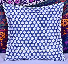 "16"" Polka Dot Printed Cotton Blue Cushion Cover Indian Decorative Pillow Sham"
