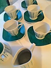 POTTERY 5 VINTAGE RETRO CUPS SAUCERS poland 50s PORCELAIN GRAPHIC abstract WAWEL
