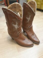 Zodiac Ladies Brown Western Cowboy Boots Size 8 All Leather Soft Spain Vintage