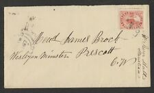 1867 5¢ BEAVER, SMALL, ATTRACTIVE COVER TO PRESCOTT; MONTREAL TRANSIT, FLAP MISS