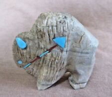 Native Zuni Great Picasso Marble Buffalo w heartline Fetish by Kevin Quam C2128