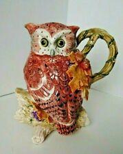 "Fritz and Floyd Owl Autumn Pitcher Glass Eyes 9"""