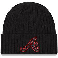 Atlanta Braves New Era Team Pop Core Classic Cuffed Knit Hat - Black